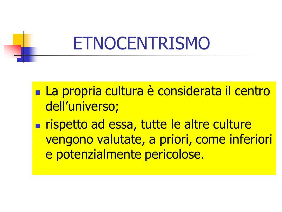 ETNOCENTRISMO La propria cultura è considerata il centro dell'universo;