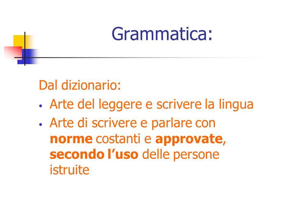 Grammatica: Dal dizionario: Arte del leggere e scrivere la lingua
