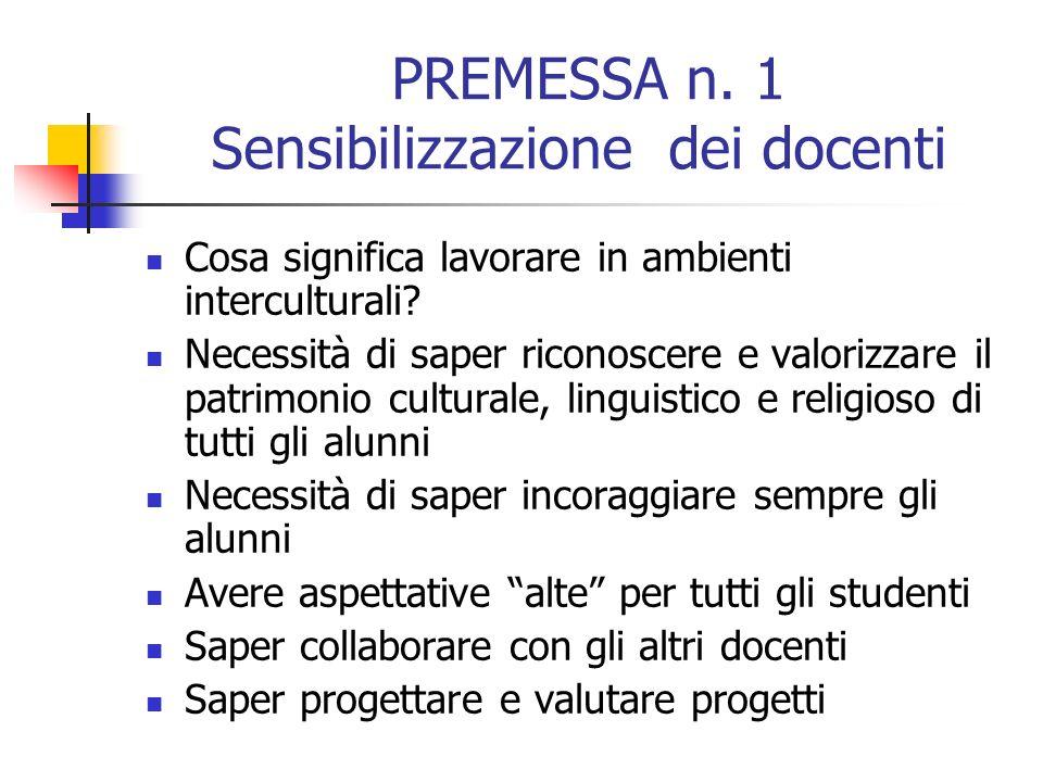 PREMESSA n. 1 Sensibilizzazione dei docenti