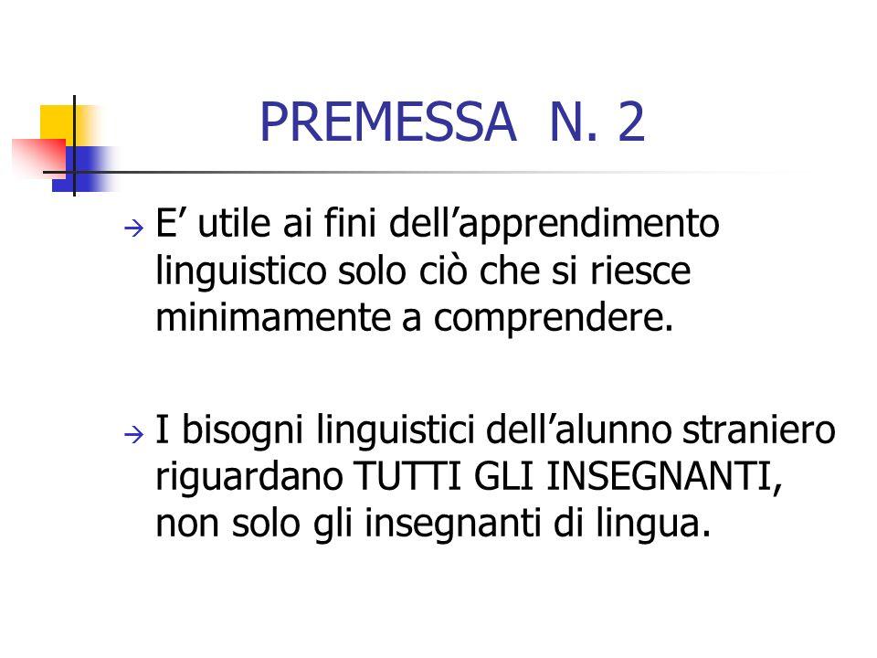 PREMESSA N. 2 E' utile ai fini dell'apprendimento linguistico solo ciò che si riesce minimamente a comprendere.