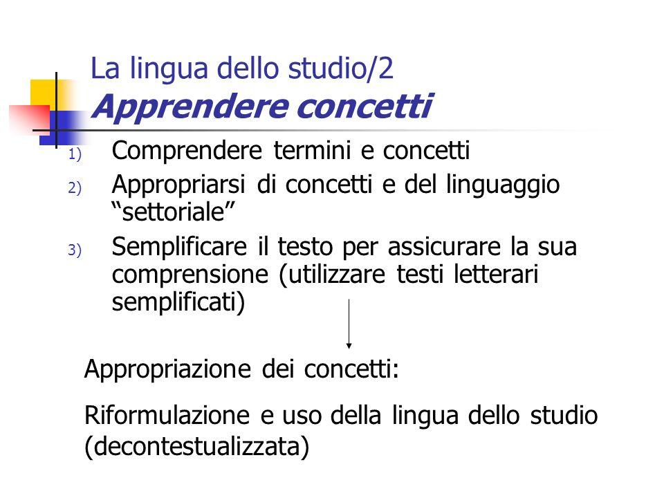La lingua dello studio/2 Apprendere concetti