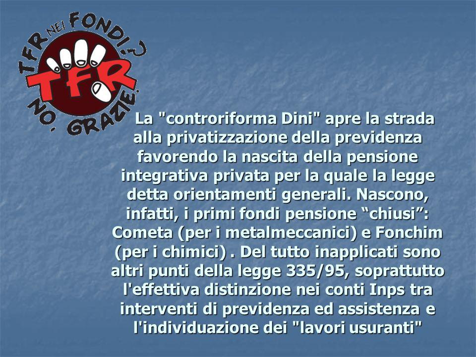 La controriforma Dini apre la strada alla privatizzazione della previdenza favorendo la nascita della pensione integrativa privata per la quale la legge detta orientamenti generali.