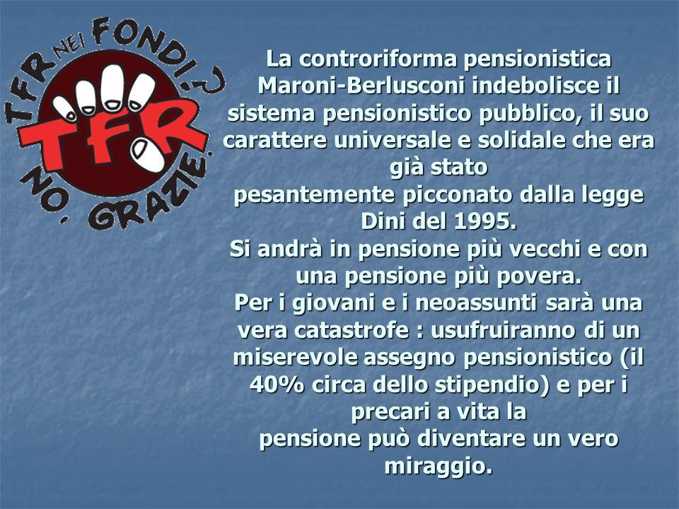 La controriforma pensionistica Maroni-Berlusconi indebolisce il sistema pensionistico pubblico, il suo carattere universale e solidale che era già stato pesantemente picconato dalla legge Dini del 1995.