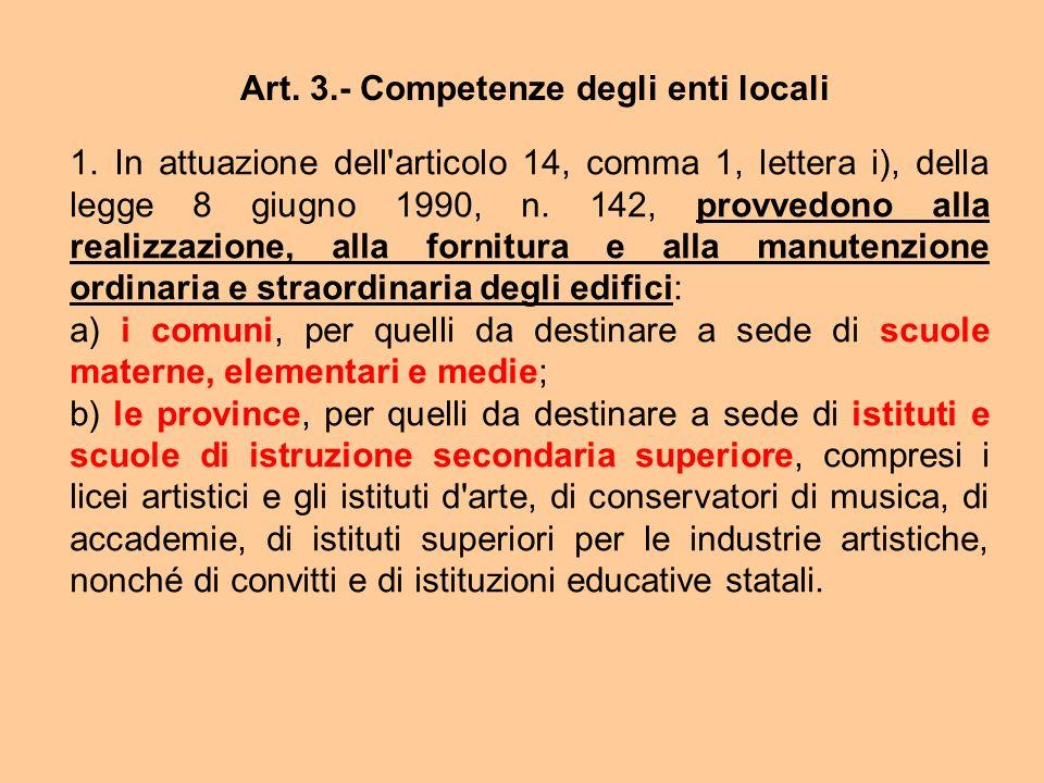 Art. 3.- Competenze degli enti locali