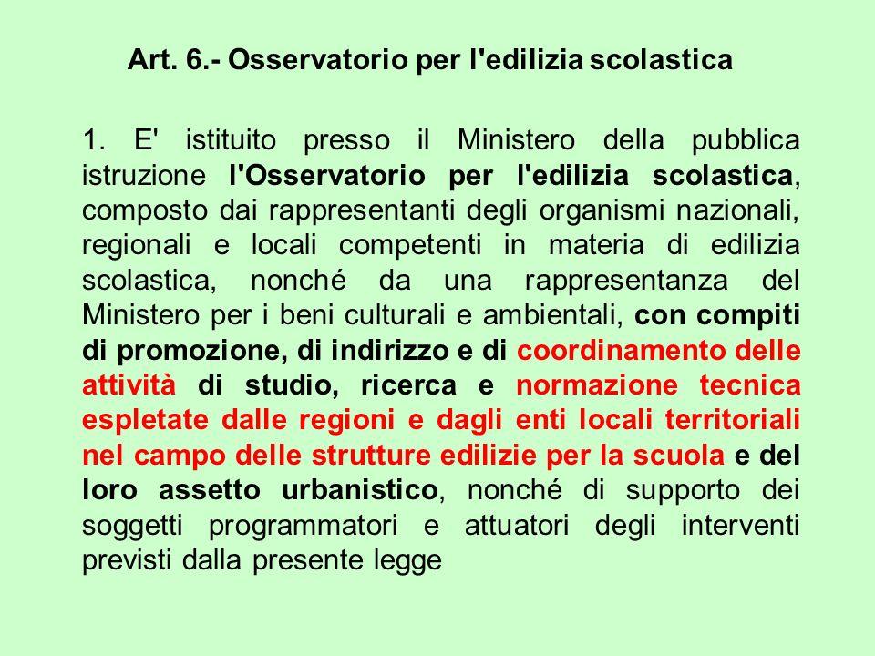 Art. 6.- Osservatorio per l edilizia scolastica