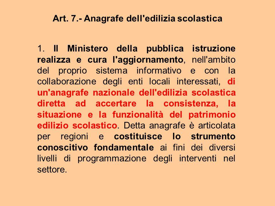 Art. 7.- Anagrafe dell edilizia scolastica