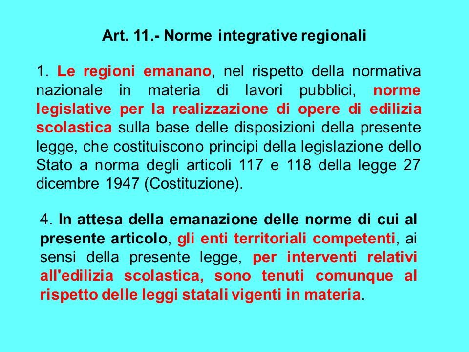 Art. 11.- Norme integrative regionali