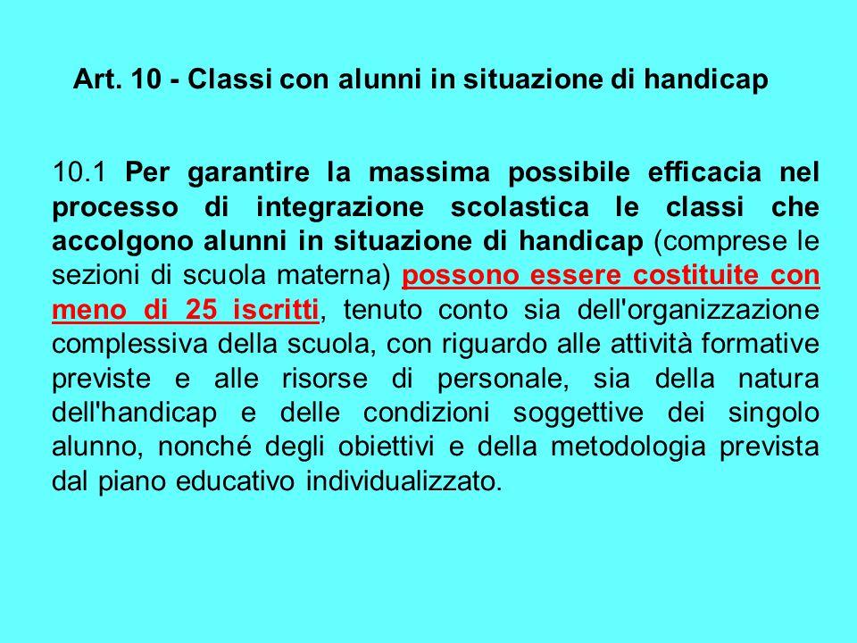 Art. 10 - Classi con alunni in situazione di handicap