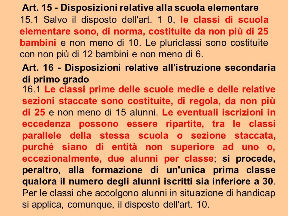 Art. 15 - Disposizioni relative alla scuola elementare