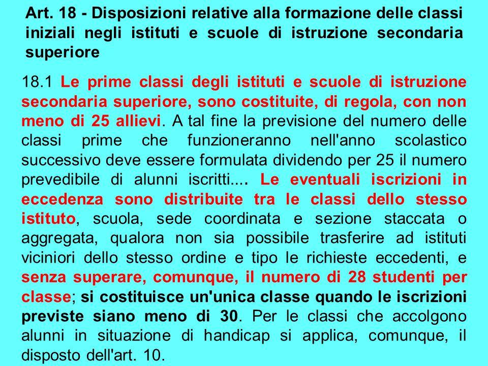 Art. 18 - Disposizioni relative alla formazione delle classi iniziali negli istituti e scuole di istruzione secondaria superiore