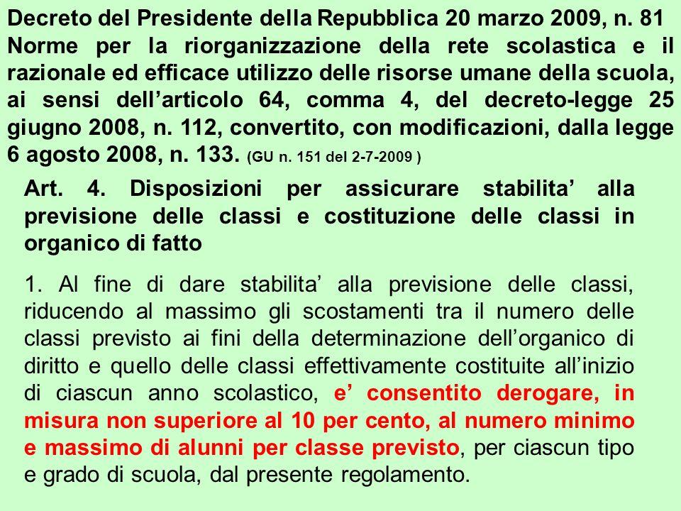 Decreto del Presidente della Repubblica 20 marzo 2009, n. 81