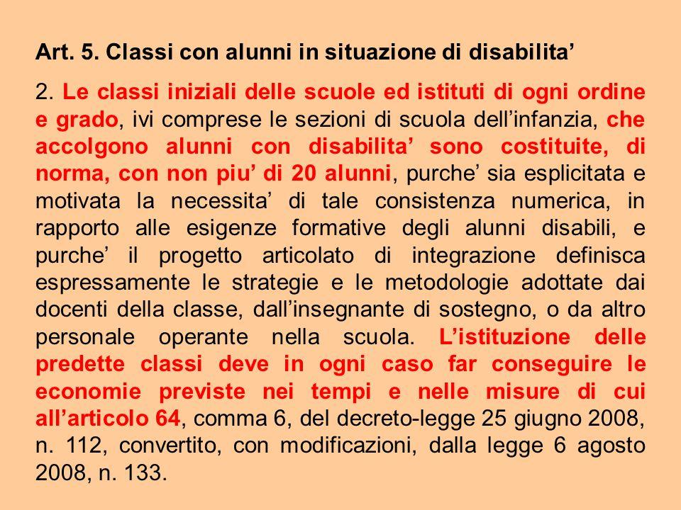 Art. 5. Classi con alunni in situazione di disabilita'