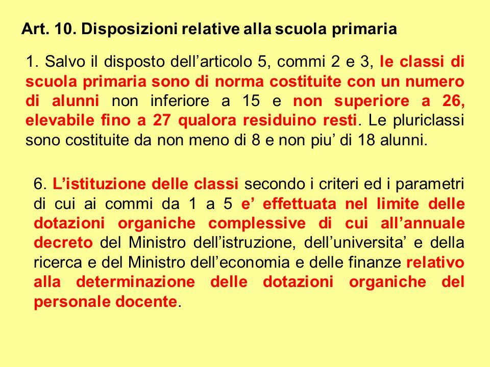 Art. 10. Disposizioni relative alla scuola primaria