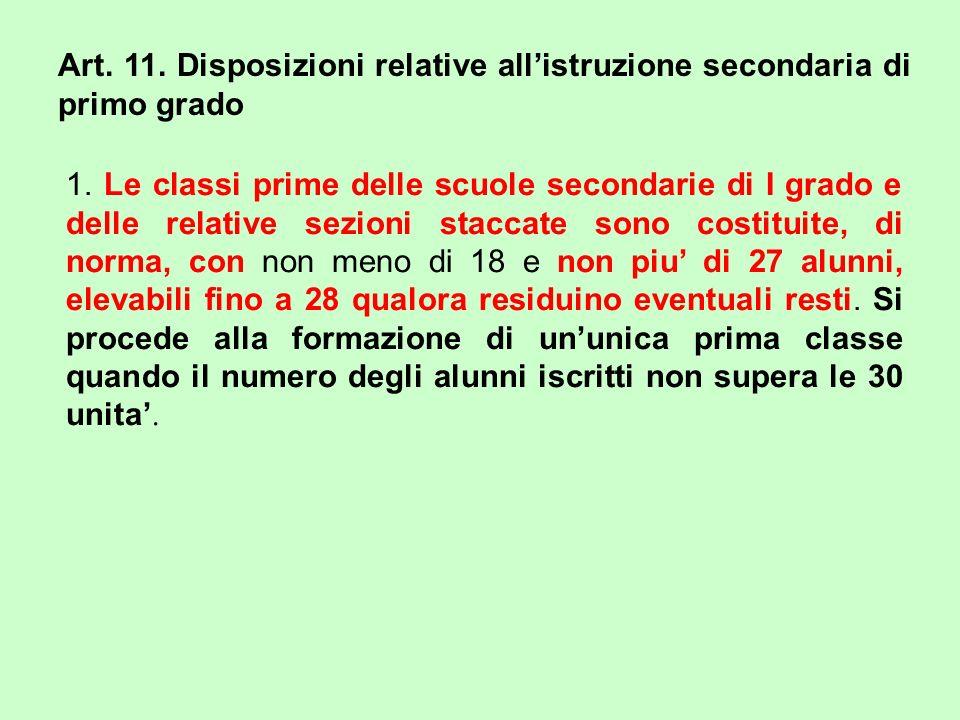 Art. 11. Disposizioni relative all'istruzione secondaria di primo grado