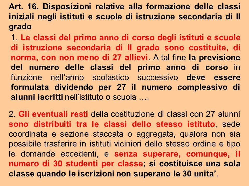 Art. 16. Disposizioni relative alla formazione delle classi iniziali negli istituti e scuole di istruzione secondaria di II grado