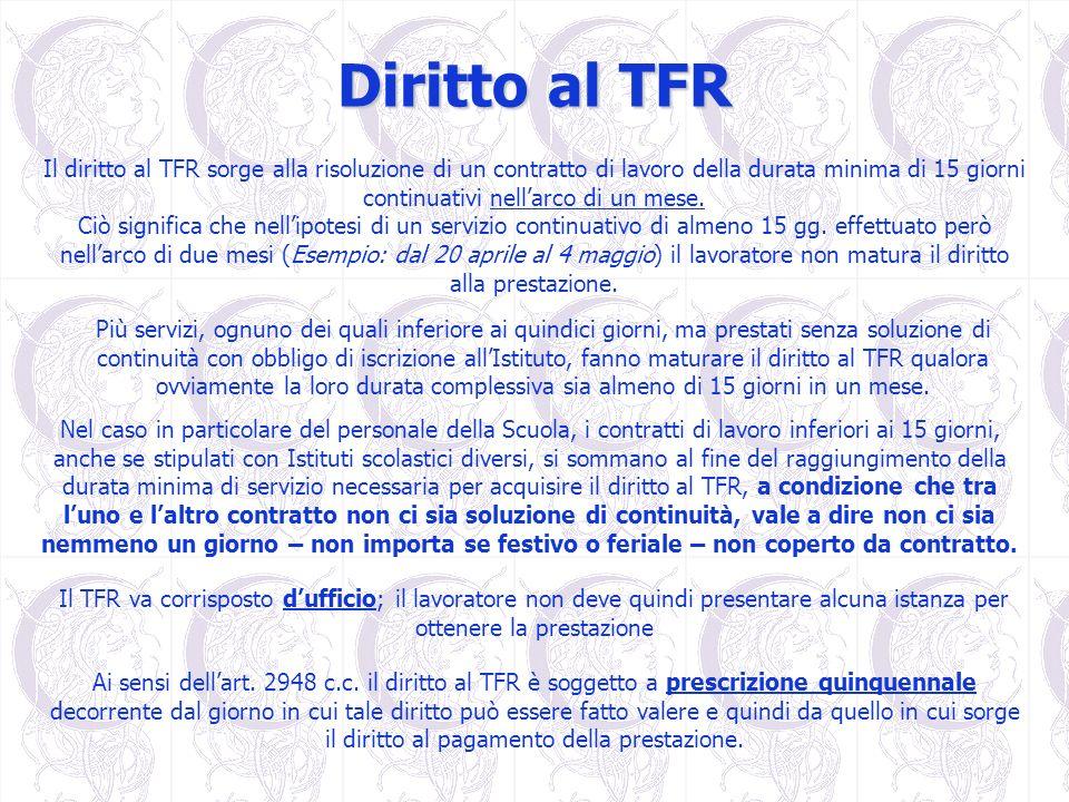 Diritto al TFRIl diritto al TFR sorge alla risoluzione di un contratto di lavoro della durata minima di 15 giorni continuativi nell'arco di un mese.