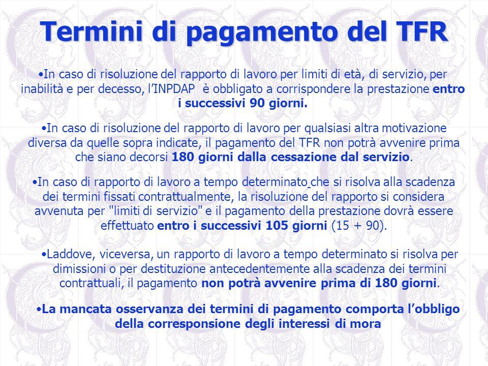 Termini di pagamento del TFR