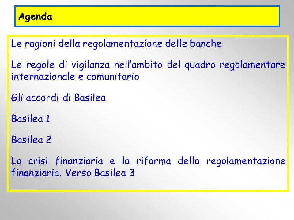 Agenda Le ragioni della regolamentazione delle banche. Le regole di vigilanza nell'ambito del quadro regolamentare internazionale e comunitario.