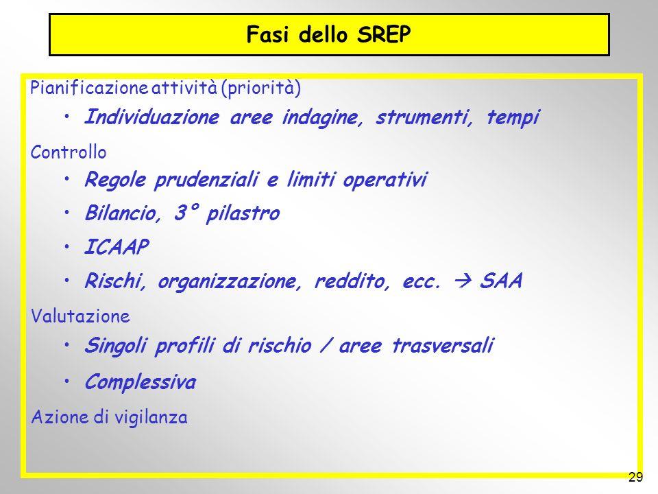 Fasi dello SREP Individuazione aree indagine, strumenti, tempi