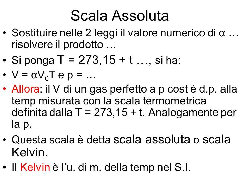 Scala Assoluta Sostituire nelle 2 leggi il valore numerico di α … risolvere il prodotto … Si ponga T = 273,15 + t …, si ha: