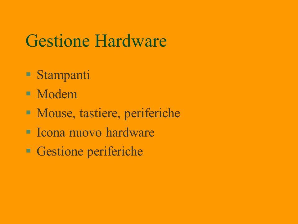 Gestione Hardware Stampanti Modem Mouse, tastiere, periferiche