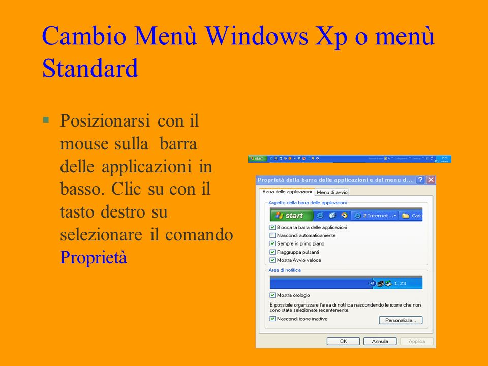 Cambio Menù Windows Xp o menù Standard