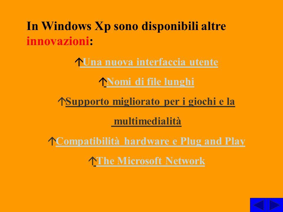 In Windows Xp sono disponibili altre innovazioni: