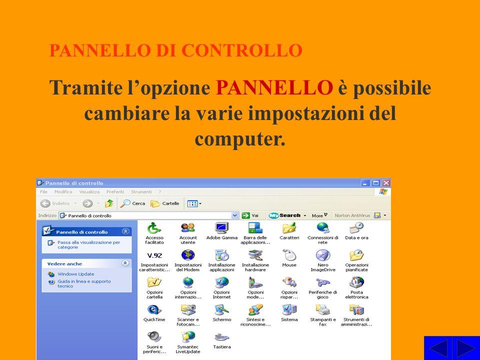 PANNELLO DI CONTROLLO Tramite l'opzione PANNELLO è possibile cambiare la varie impostazioni del computer.