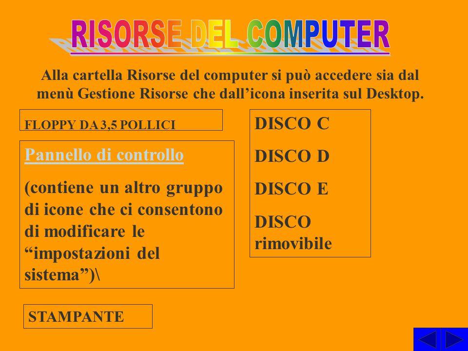 RISORSE DEL COMPUTER DISCO C DISCO D DISCO E Pannello di controllo