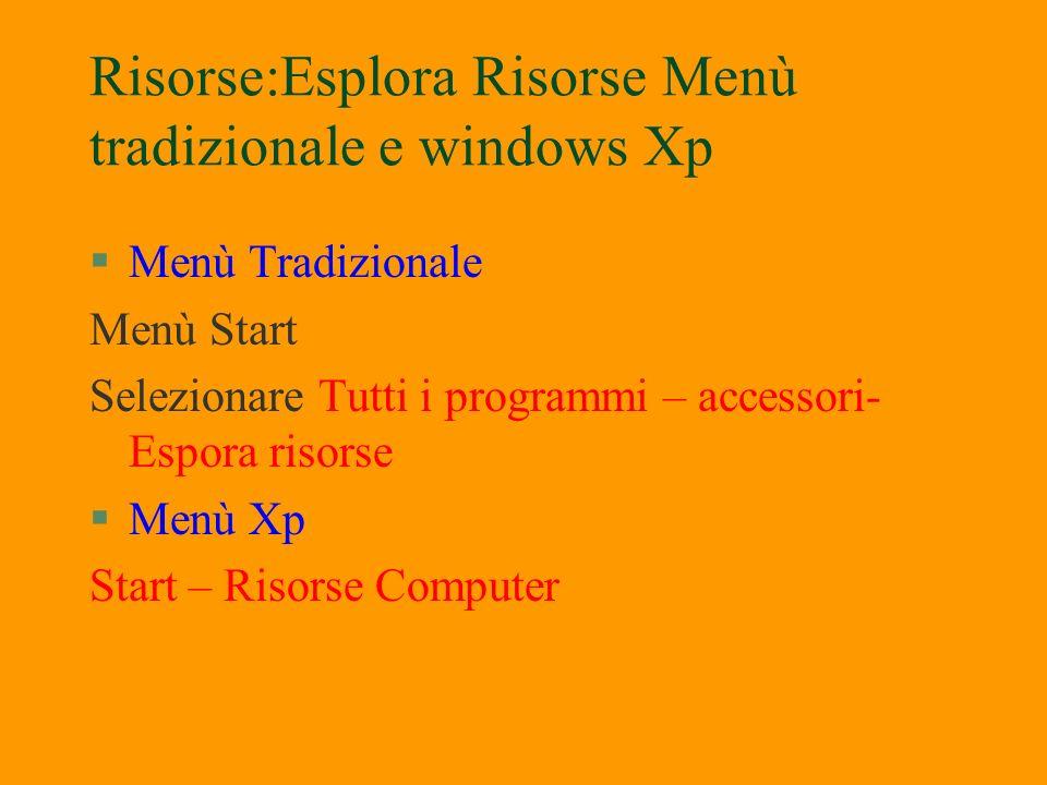 Risorse:Esplora Risorse Menù tradizionale e windows Xp