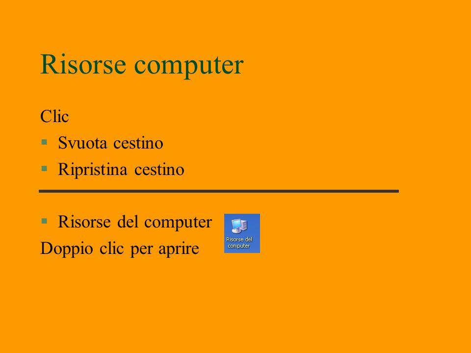 Risorse computer Clic Svuota cestino Ripristina cestino