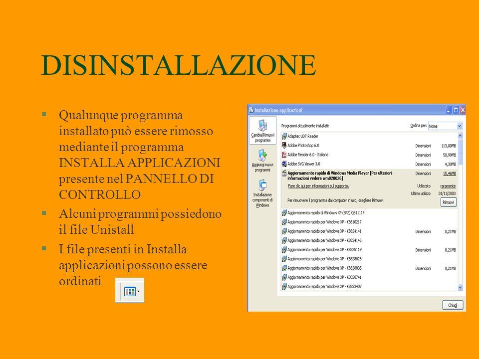 DISINSTALLAZIONE Qualunque programma installato può essere rimosso mediante il programma INSTALLA APPLICAZIONI presente nel PANNELLO DI CONTROLLO.