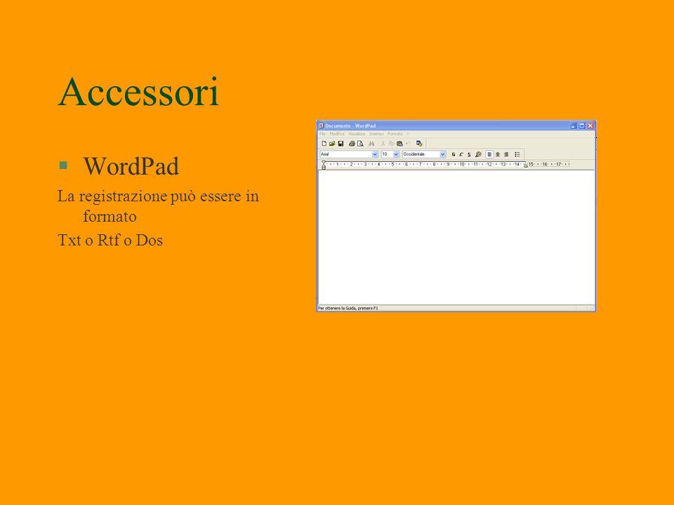 Accessori WordPad La registrazione può essere in formato