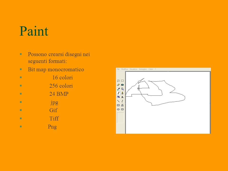 Paint Possono crearsi disegni nei seguenti formati:
