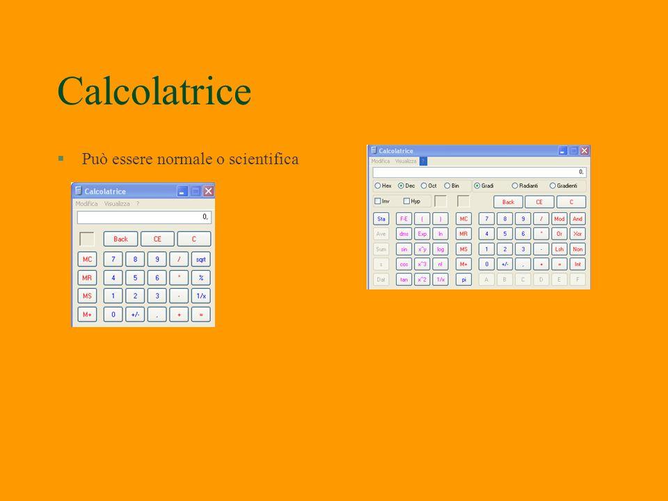 Calcolatrice Può essere normale o scientifica