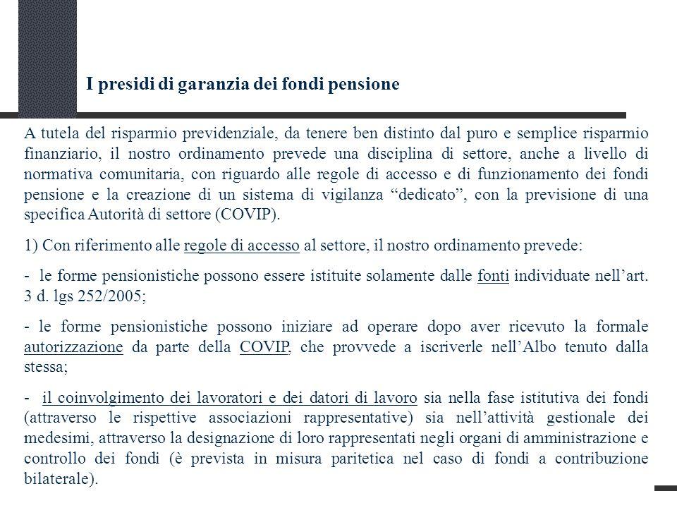 I presidi di garanzia dei fondi pensione