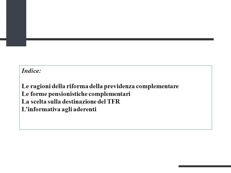 Indice: Le ragioni della riforma della previdenza complementare. Le forme pensionistiche complementari.