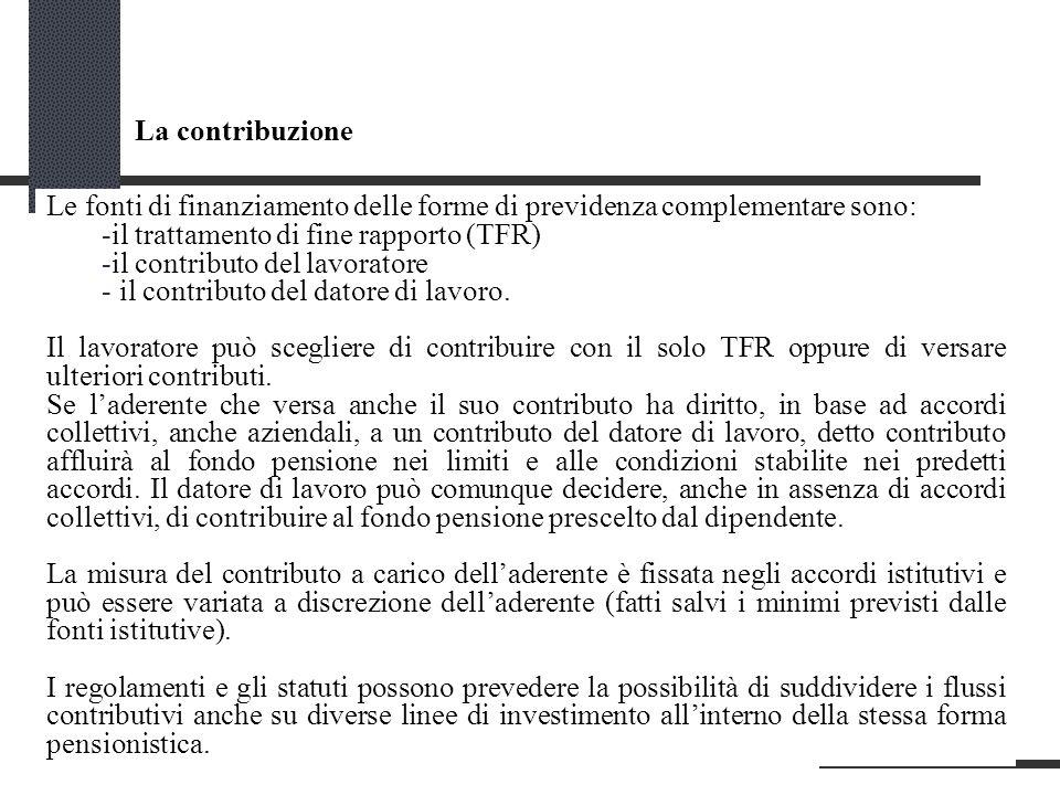 La contribuzione Le fonti di finanziamento delle forme di previdenza complementare sono: il trattamento di fine rapporto (TFR)