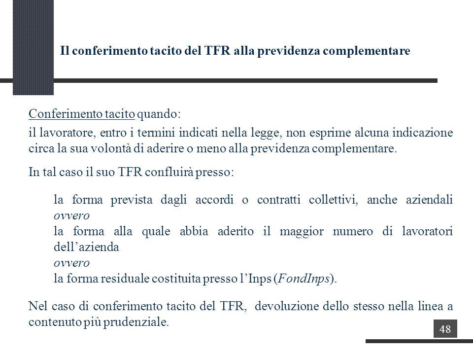 Il conferimento tacito del TFR alla previdenza complementare