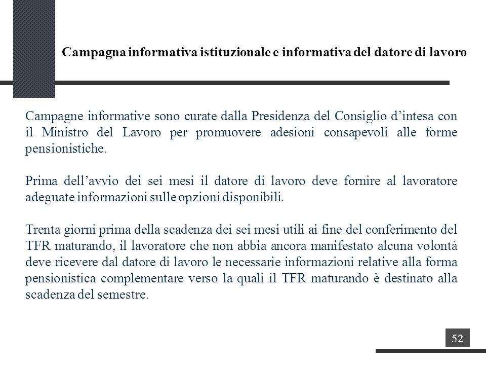 Campagna informativa istituzionale e informativa del datore di lavoro