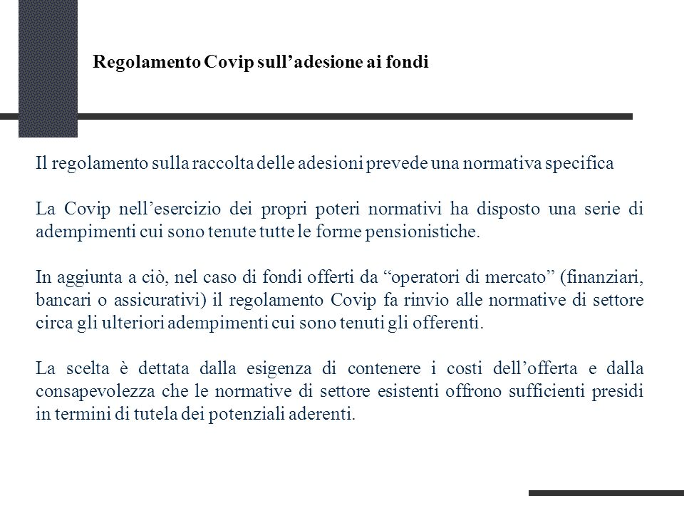 Regolamento Covip sull'adesione ai fondi