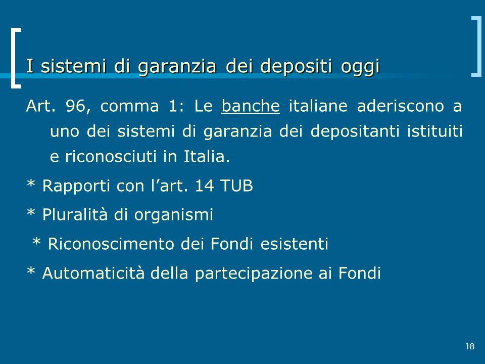 I sistemi di garanzia dei depositi oggi