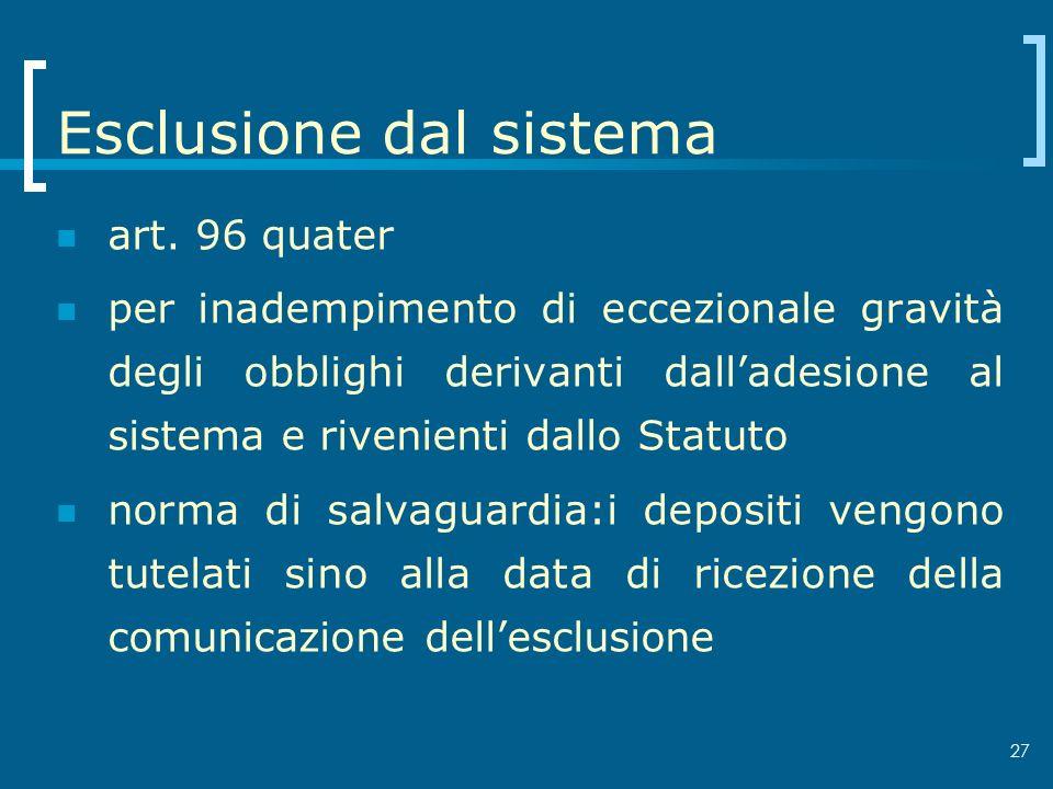 Esclusione dal sistema