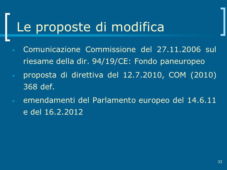 Le proposte di modifica