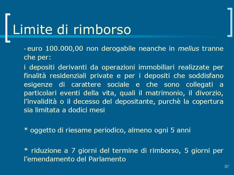 Limite di rimborso * euro 100.000,00 non derogabile neanche in melius tranne che per: