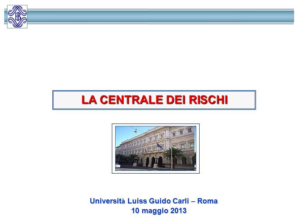 LA CENTRALE DEI RISCHI Università Luiss Guido Carli – Roma
