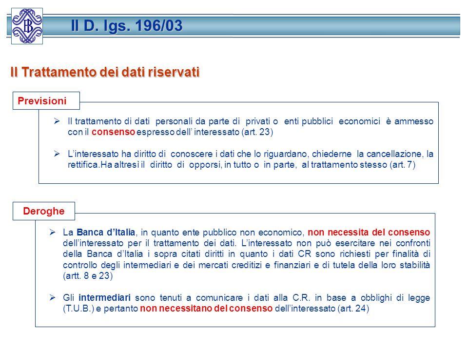 Il D. lgs. 196/03 Il Trattamento dei dati riservati Previsioni Deroghe
