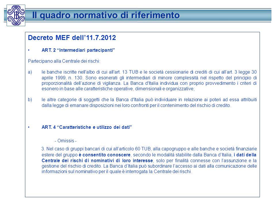 Il quadro normativo di riferimento
