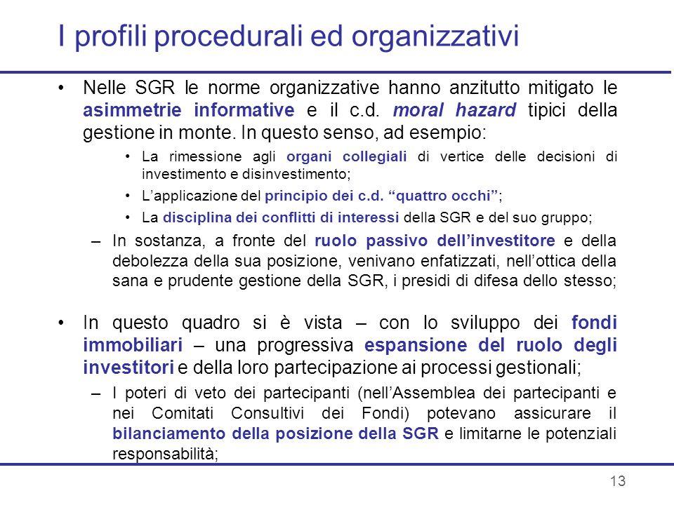 I profili procedurali ed organizzativi