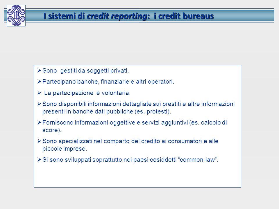 I sistemi di credit reporting: i credit bureaus